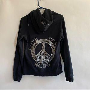 BCBG Maxazaria zip up hoodie black bling peace L